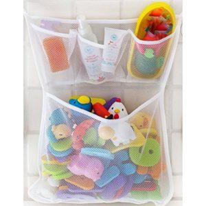 Filet-de-rangement-en-mailles-fines-Welecom-pour-jouets-de-bain-de-bb-Pochettes-de-rangement-Ventouses-murales-0