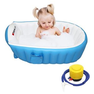Signstek-Baignoire-pour-Bb-pliable-gonflable-enfant-Piscine-Gonflable-Bassine-pour-Enfant-et-Bb-pour-0-4-ans-Scurit-et-Portable-avec-gonfleur-Bleu-0